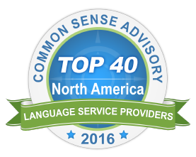 Logótipo do Top 40 da Common Sense Advisory na América do Norte