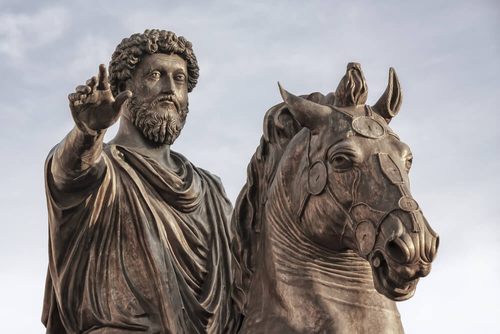 The equestrian statue of Marcus Aurelius in Campidoglio Rome