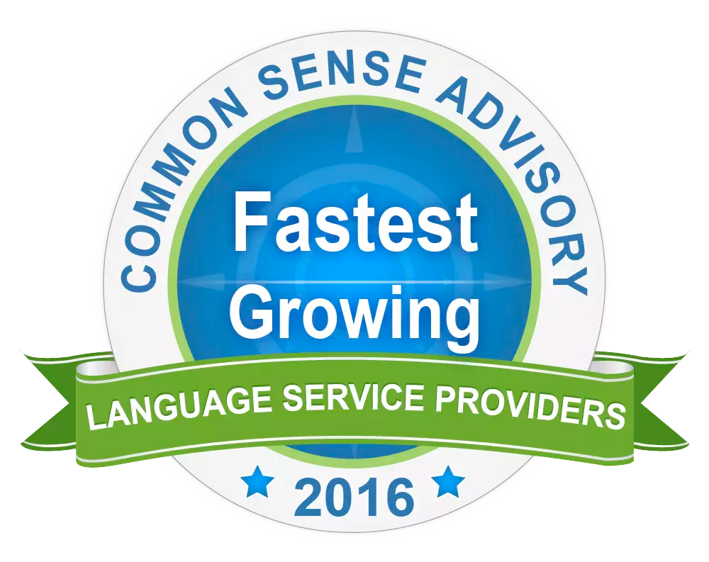 Common Sense Advisory Fastest Growing Language Service Provider 2016 badge