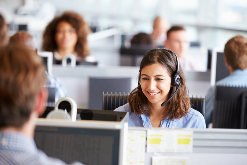 Woman working at an multilingual call center