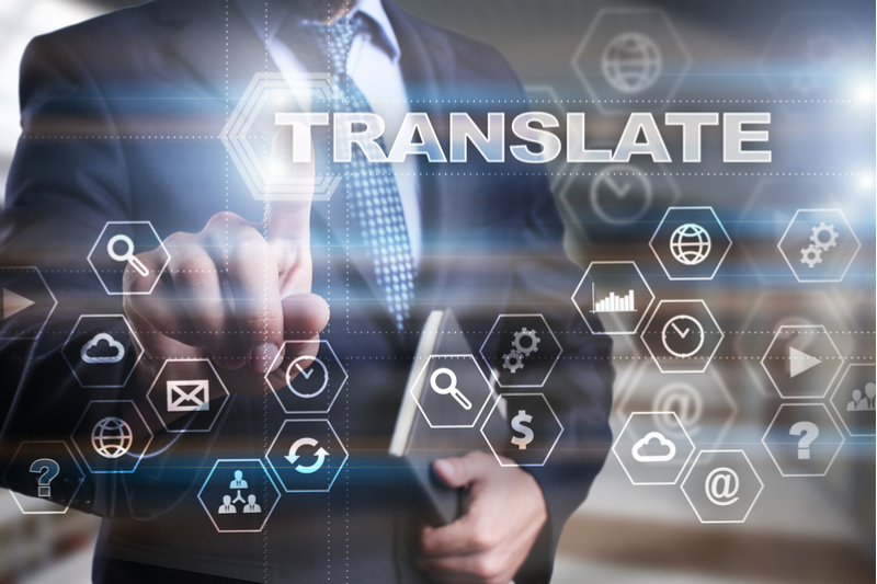 Concept of business person using digital translation