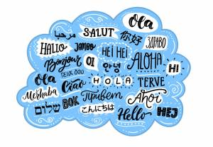 Blue text bubble with different ways to say 'hello'