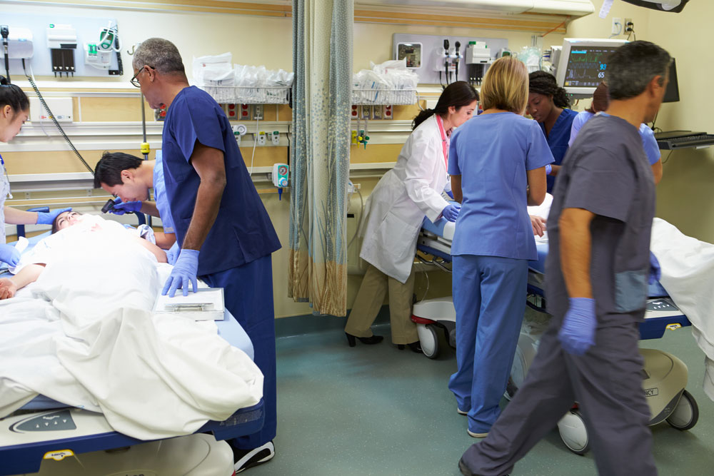 Medical professionals working in the ER