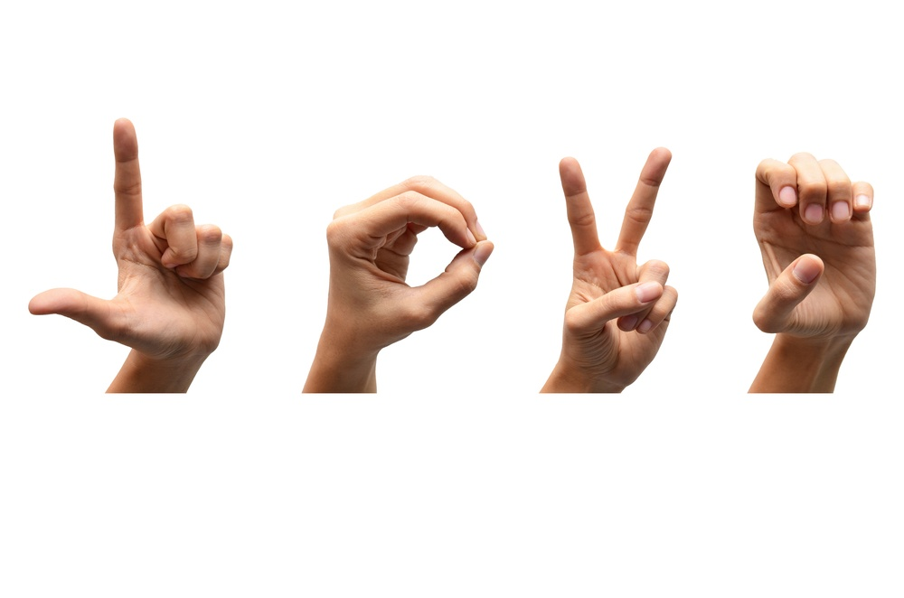 American Sign Language Hands Spelling the Word Love