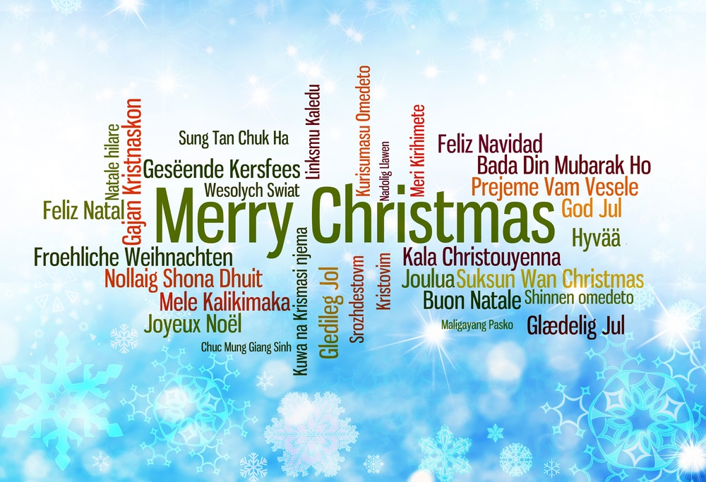 Merry Christmas word bank in many languages