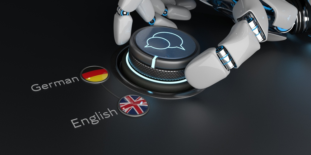 Robotic hand moving button to German or British flag symbolic of AI translation