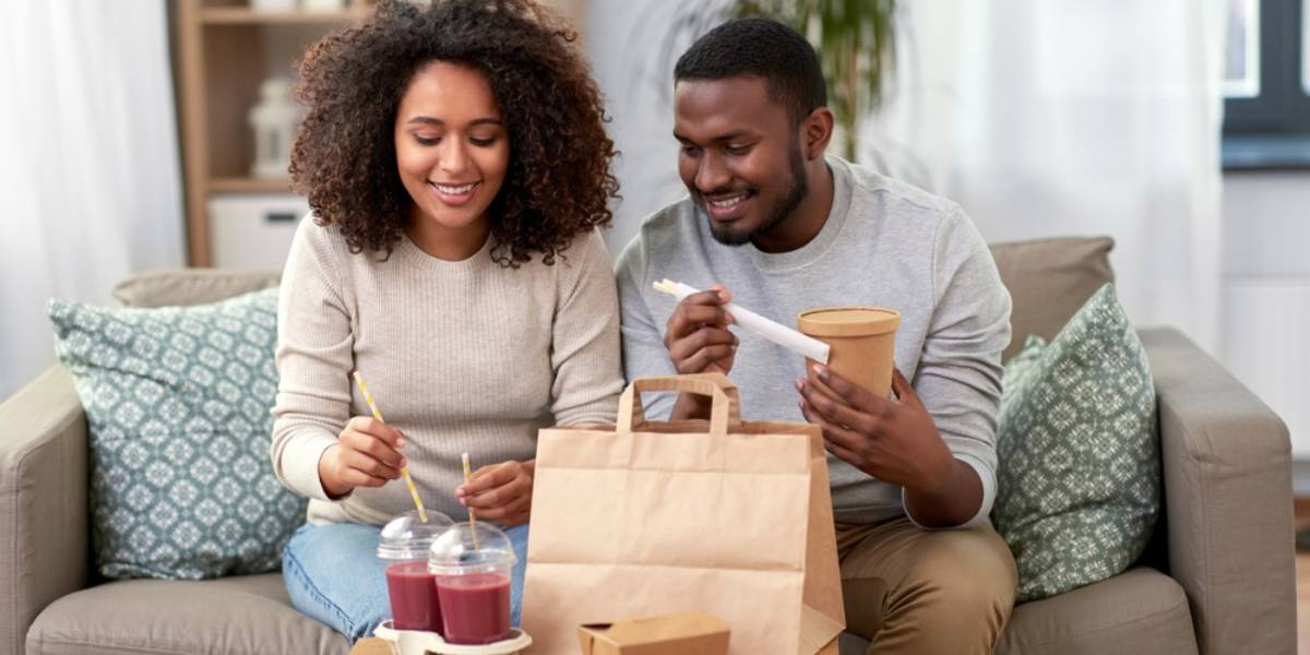 Couple Eating Delivered Food