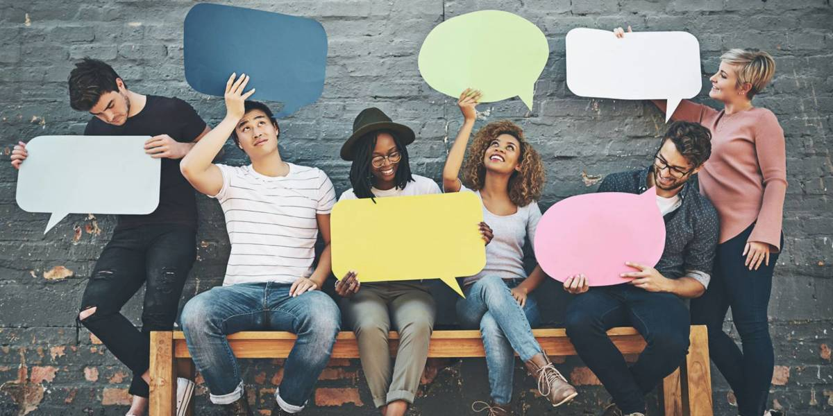 Group of young people with speech bubbles
