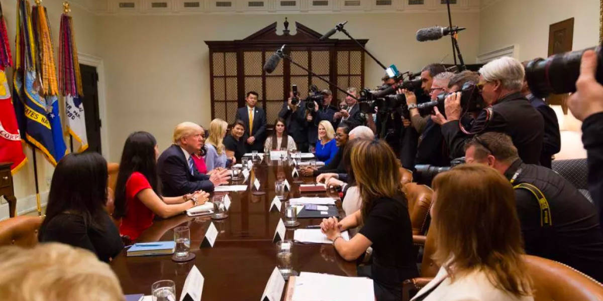 Claudia Mirza at White House Panel Discussion with President Donald Trump