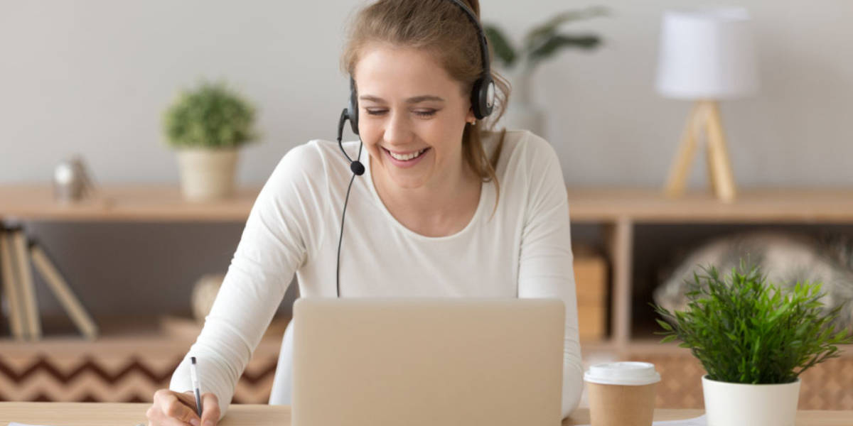 Young woman works on transcribing content