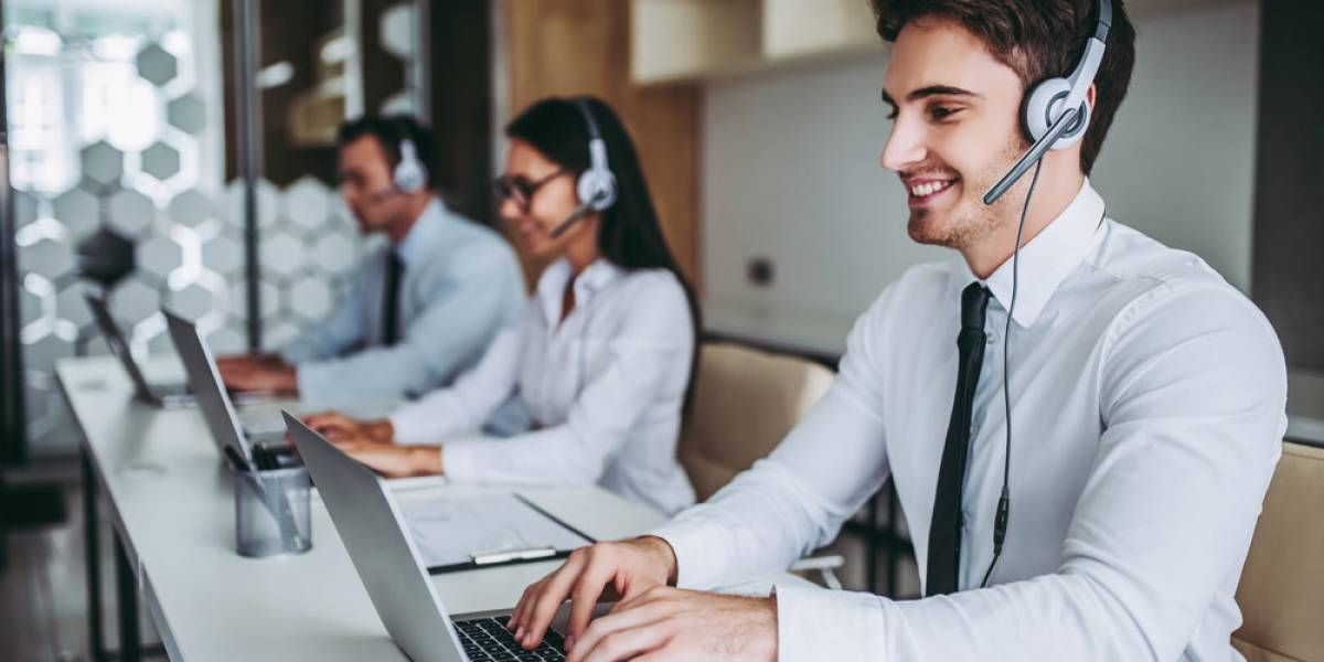 Man and women working at contact center