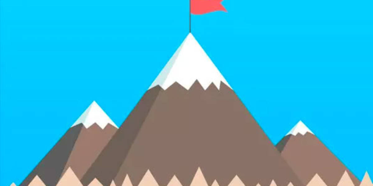 Flag on a mountaintop illustration