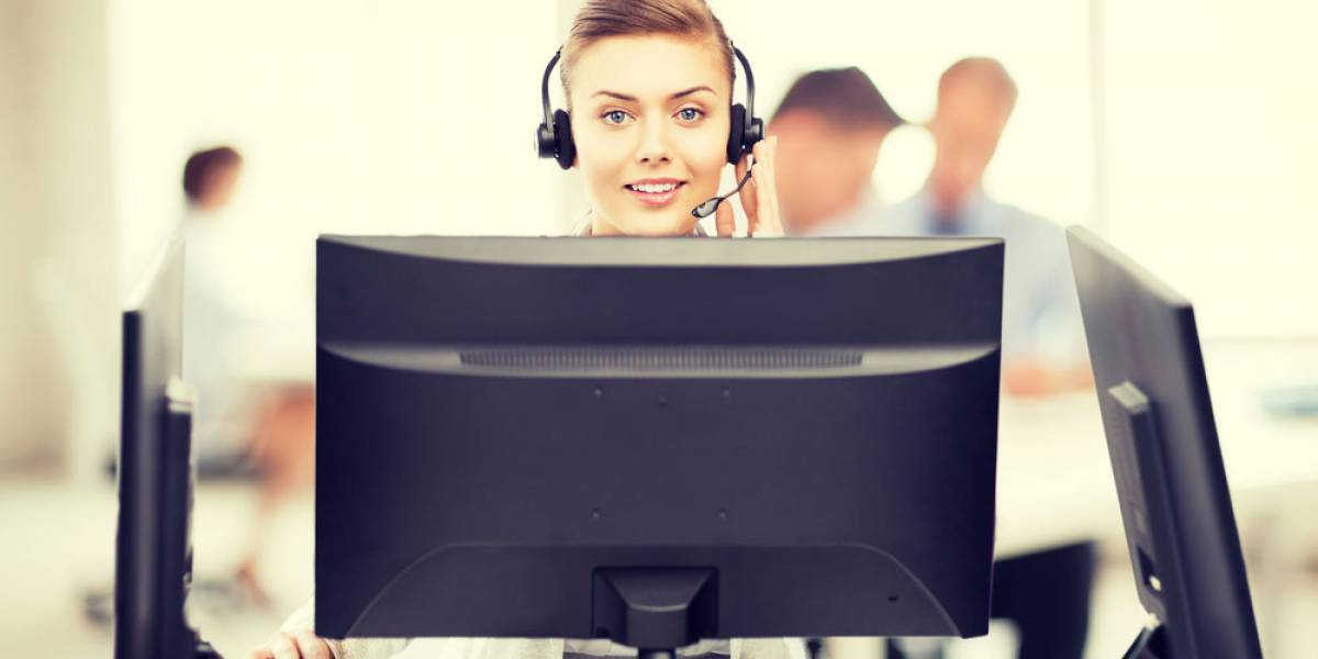 Young woman heading online chat service