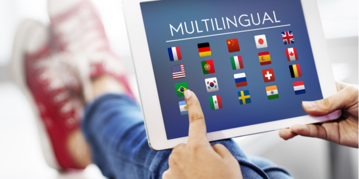 Woman using multilingual app on tablet