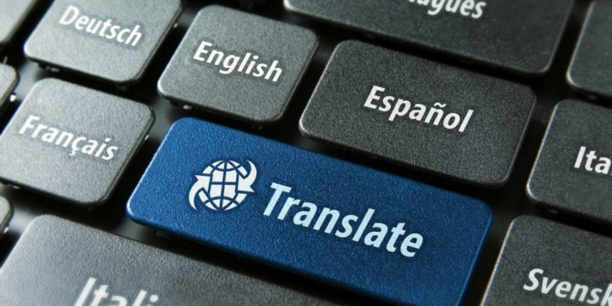 keyboard with translate button in blue